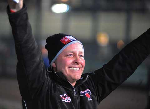 Alun Rossiter celebrates the Robins' Elite League title win