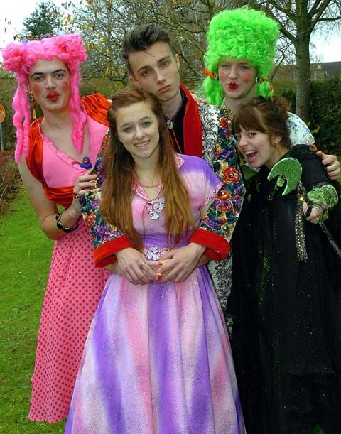Cotswold School pupils Keiran Wiseman, Ruby Young, james Lovett-Turner, Matt Cook and Camille Smith who are taking part in the pantomime production of Sleeping Beauty