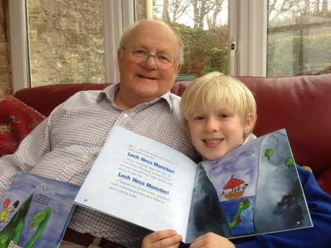 Mick Ponting and grandson Fred with their book Bumpop and the Loch Ness Monster