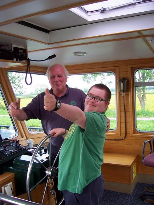 The Willow Trust's competent skippers give every guest the chance to take the wheel as part of their canal trip experience