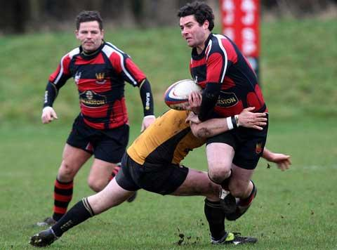 Ian Barber on the ball for Cirencester against Keynsham