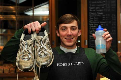 Tim Lee from Hobbs House Bakery in the Corn Hall who is running the Bath half marathon in aid of the Timmy Mason Trust