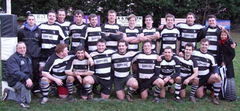 Stow 1st XV with coach Andy Cartlidge on the left of the back row
