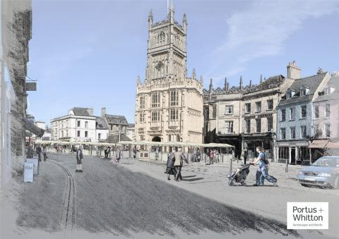 An artist's impression of Cirencester's revamped Market Place