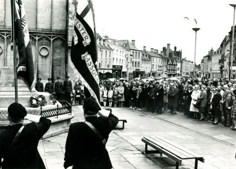 Cirencester Market Place for Remembrance Day in 1984