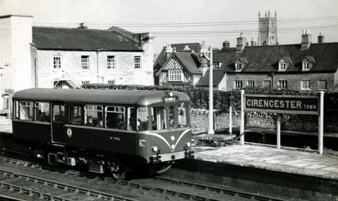 A diesel car at Cirencester Town Station in February 1959,  the year the line was threatened with closure.