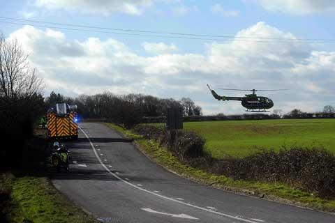 Emergency servies at the scene of a crash on the A429 between Kemble and Crudwell