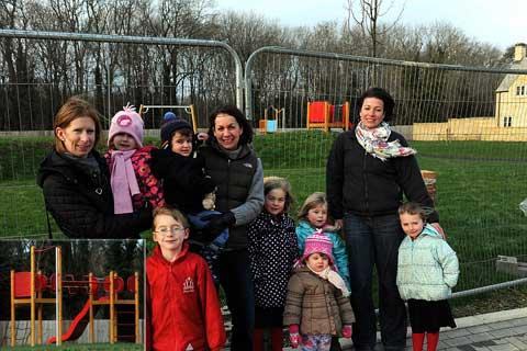 Corinium Via residents Lucinda Hill with her children Amber and Ethan, Kate Willett holding Angus Gilman and with her daughters Evie and Maisy, Jessica Hillier and Liz Lloyd with her daughter Isabella by the play area, and equipment inset