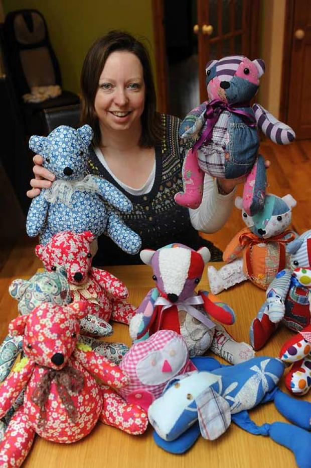 Sally Scotford with her bears from spares