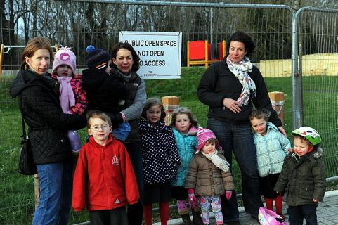 Angry families at the Corinium Via estate in Cirencester who have been told a children's play area, completed last summer, will now be relocated and repainted following complaints by a handful of residents.