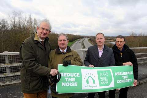 Paul Hodgkinson and Cllr Mike Evemy from the A419 Noise Action Group with supporters of the group Gloucestershire County Councillor Shaun Parson and Geoffrey Clifton-Brown