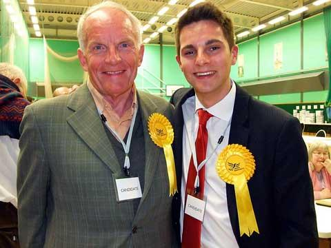Lib Dem county councillors Nigel Robbins and Joe Harris after the results earlier today