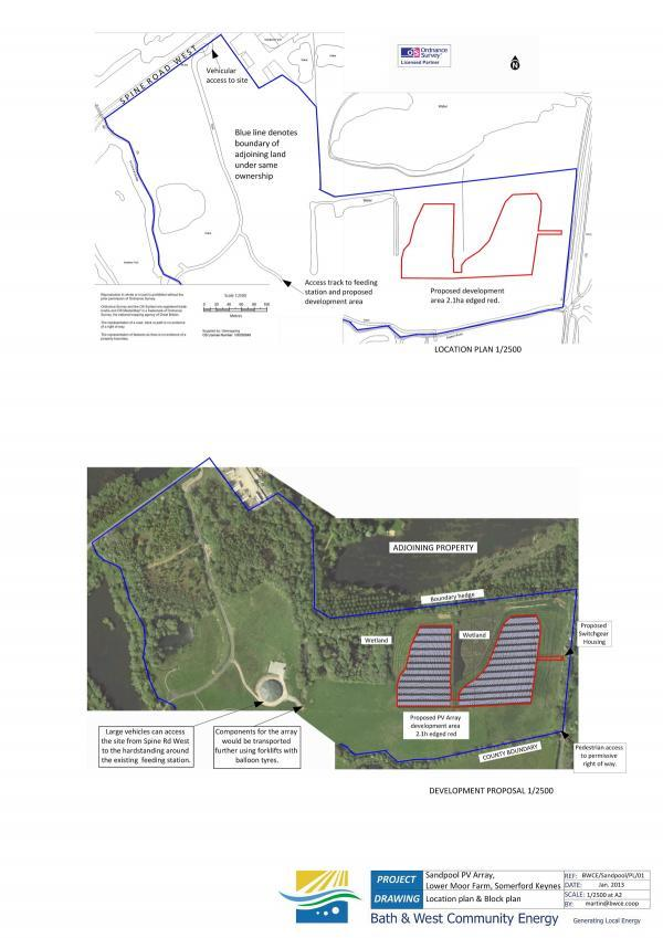 Wilts and Gloucestershire Standard: A location plan of the proposed solar array at Sandpool Farm
