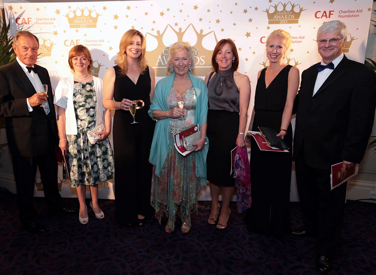 Ian MacLaurin, Alex Trapnell, Claire Cosgrove, Christine Mills MBE, Margaret Duncan, Rosa Woodley and Jeff Wearing at The Charity Awards 2013