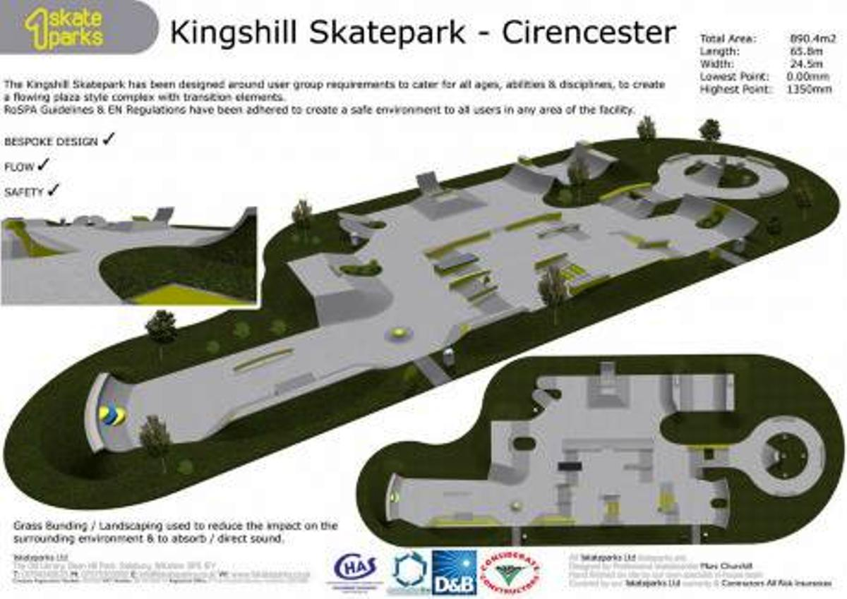 Plan of the new skate park at Cirencester's Kingshill Sports Complex