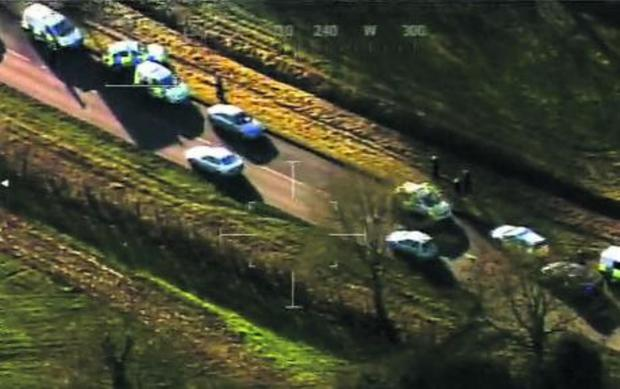 The scene from the police helicopter as the burglars are arrested at Malmesbury