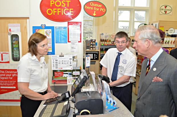 His Royal Highness with Rachel Moody and Paul Mather in the Post Office section of the store (2672891)