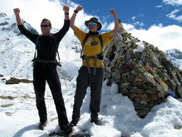 Deputy head Richard Lewis with Jack Edgell at the Everest basecame