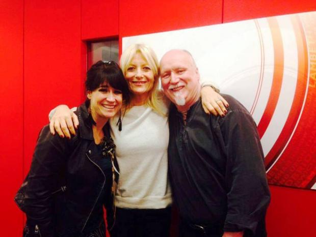 Michaela Mott and Berny Poulton of Ethemia with television presenter Gaby Roslin (centre)