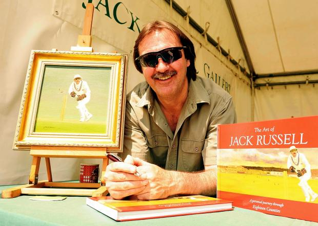 Former Test cricketer Jack Russell whose painting was presented to Tom Graveney