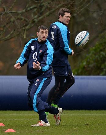 Jonny May (left) during an England training session yesterday