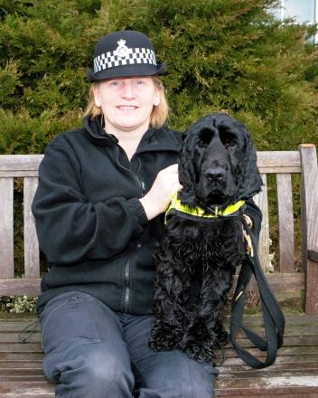 Cuddly Wiltshire Police drugs dog with handler PC Marie Poole