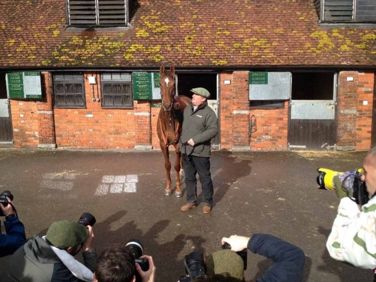 Trainer Paul Nicholls with his Gold Cup hope Silviniaco Conti