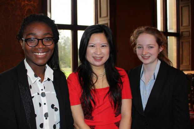 (From left) Westonbirt student Tomi Lijadu, Qing Lin and student Lucy Marsh