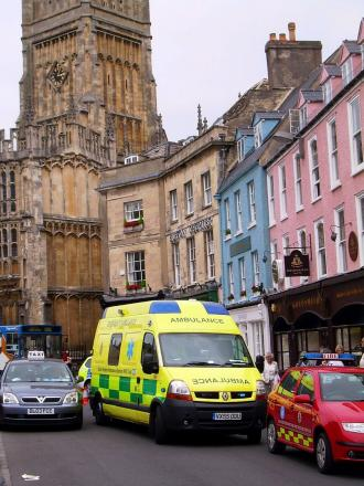 Ambulance in Cirencester's Market Place