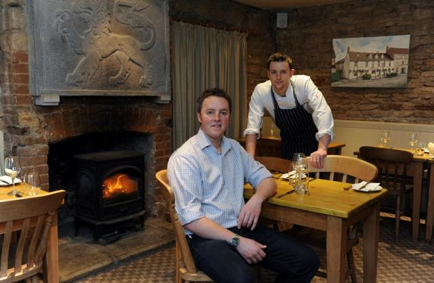 Landlord Tom Gee and chef Chris White in the restaurant at the Red Lion in Cricklade, named as one of the top fifty gastro-pubs in the country