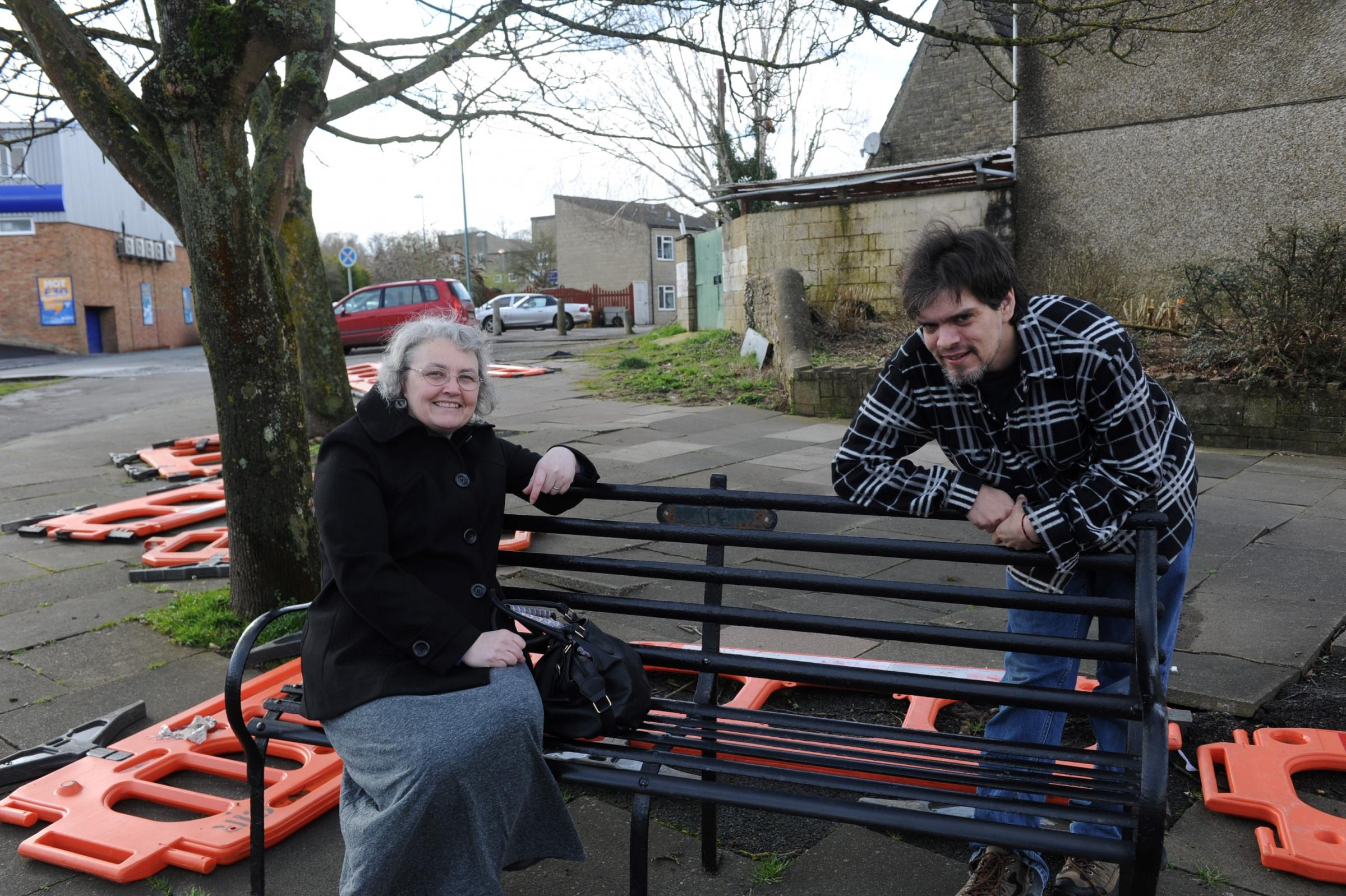 Cllrs Jenny Hincks and Shane Poole by the area due for landscaping in Watermoor Road