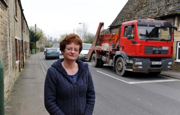Cllr Sue Coakley on Thames Street, Lechlade (Vehicle in picture is not over length limit and is not travelling illegally)