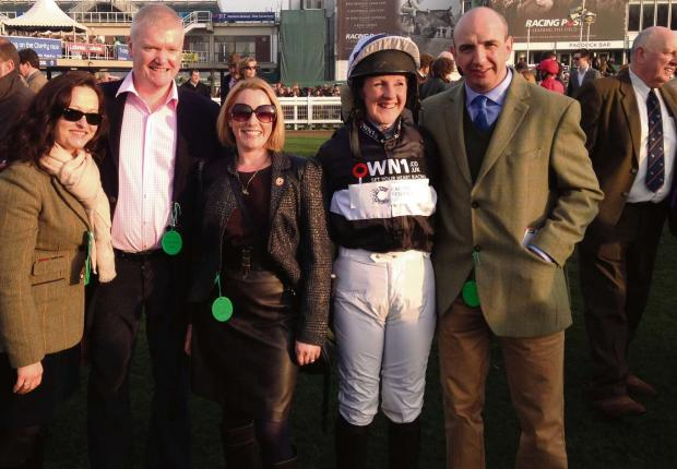 Wilts and Gloucestershire Standard: Some of Gud Day's owners along with amateur rider Heather Kemp and trainer Fergal O'Brien before the St Patrick's Derby