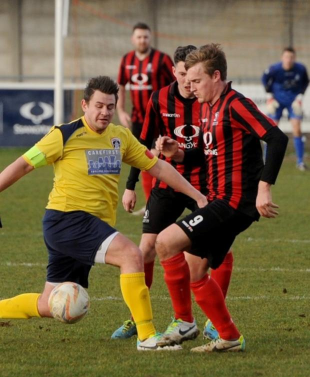 Wilts and Gloucestershire Standard: Cirencester Town's match winner Will Morford, right (4669697)