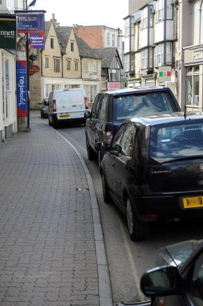 Cars parked on the single yellow line in Castle Street run the risk of being given a ticket