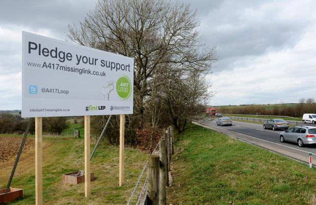 New roadside billboards installed to remind queueing motorists to back A417 Missing Link campaign