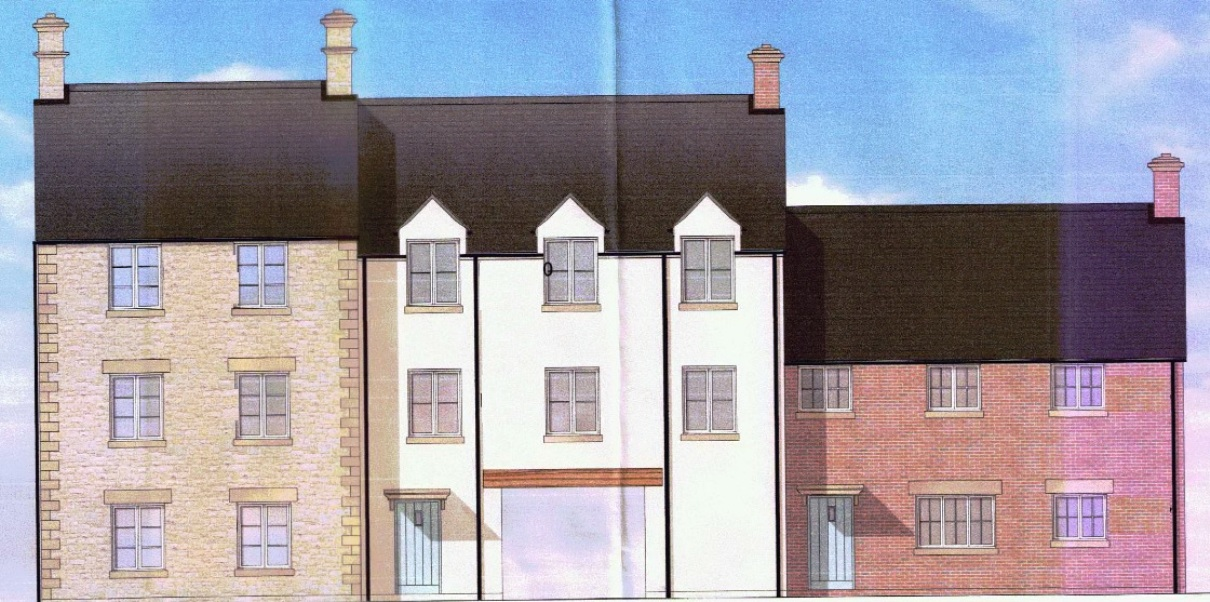 An artist's impression of the new homes on the former Akeman Court site