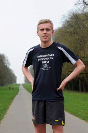 Matt Cordas, who is running 5.54km every day of the year to raise money for the St James's Place Foundation, on one of his runs through Cirencester Park