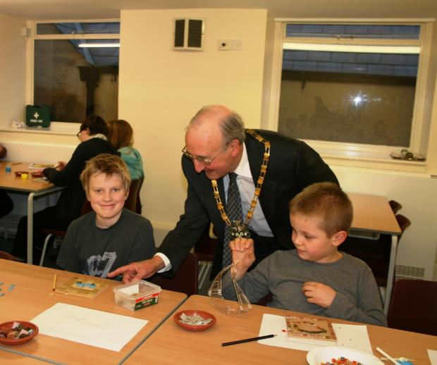 Sir Edward Horsfall with young carers from Cirencester