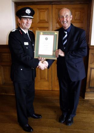 Martyn Snell with Wiltshire's Chief Fire Officer Simon Routh-Jones