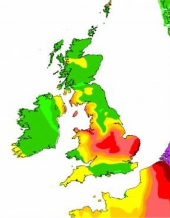 Map showing levels of air pollution across Great Britian