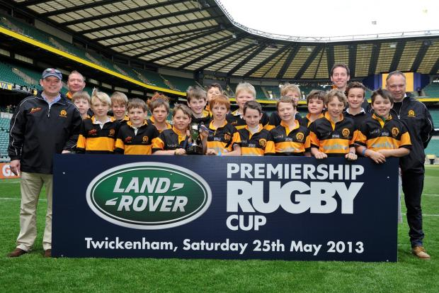 Oakham RFc U11s , last year's Land Rover Premiership Rugby Cup winners