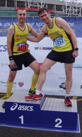 Matt Lambourne and Graham Aitchison of Running Somewhere Else after their efforts at the Greater Manchester Marathon