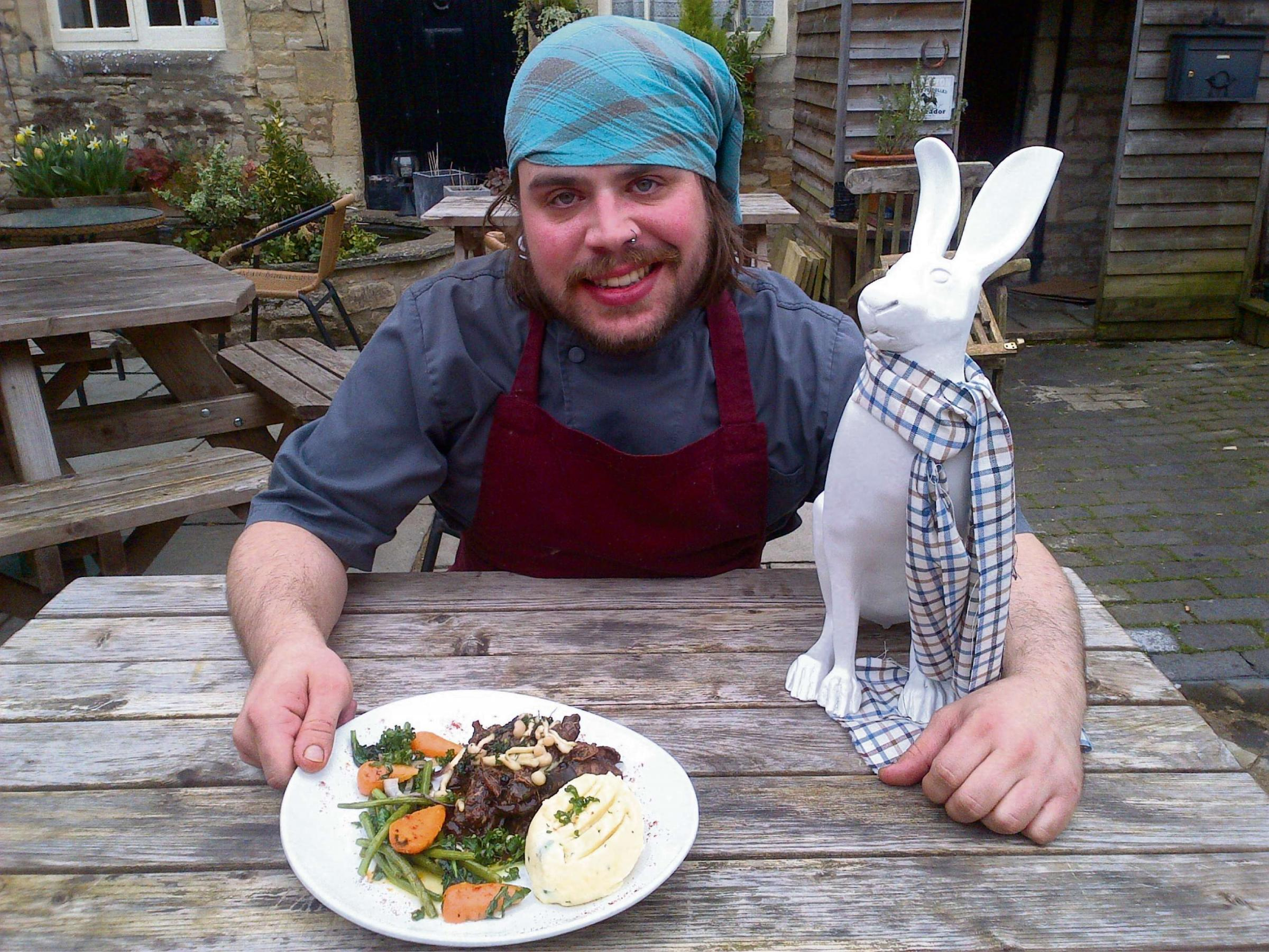 Head chef at the Golden Cross Toby Refoy with his new hare dish