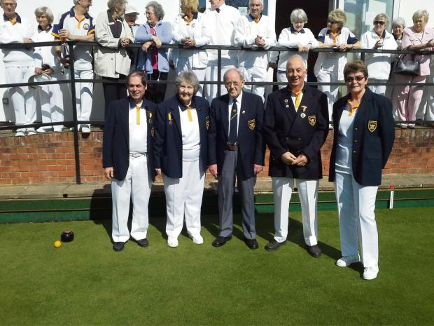 Cirencester Bowling Club's green opening – left to right: Roger Righton (men's captain), Cynthia Denton (club president), Derek May, John Marriott (chairman of directors) and Irene Hawkins (ladies' captain)