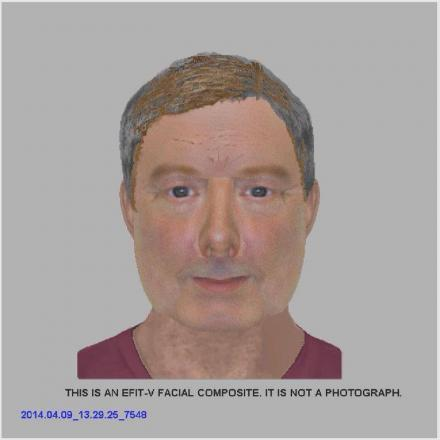 A police e-fit of the man who stripped naked in a Malmesbury charity shop