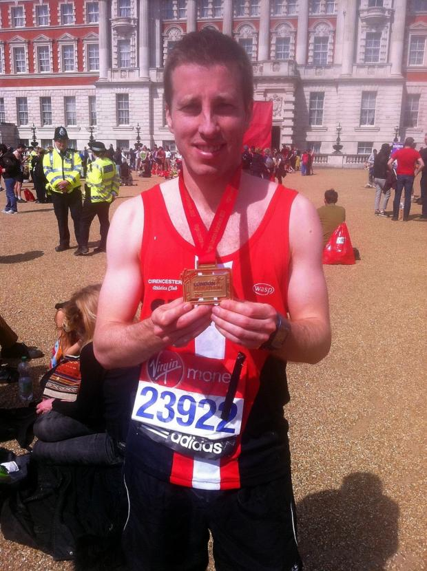 Wilts and Gloucestershire Standard: Simon Campbell of Cirencester Athletics Club after last year's London Marathon