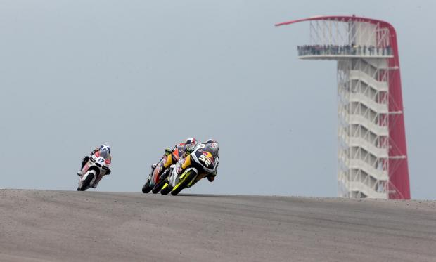 Danny Kent (52) leads a group at the Circuit of the Americas in Texas. Picture: Bonnie Lane