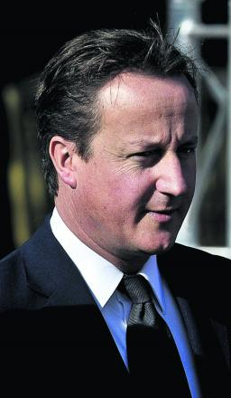 Prime Minister David Cameron visiting Woodchester today as part of local election tour