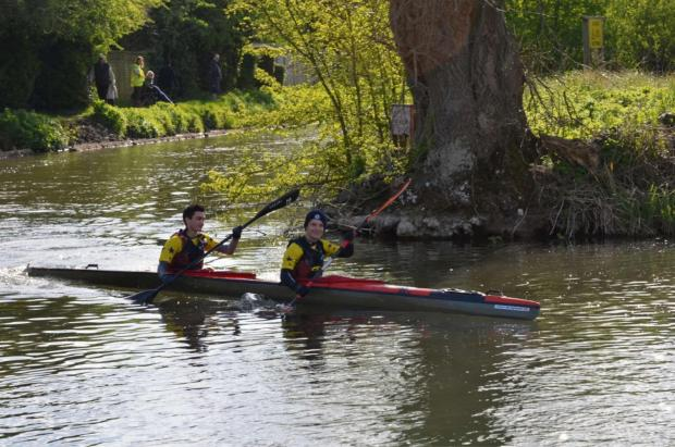 Monty, at the back, and Jago successfully completed the Devizes to Westminster kayak challenge in 23 hours and 46 minutes